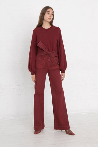 Ulla Johnson Wade Jean in Syrah, Front View Full Body