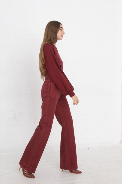 Ulla Johnson Wade Jean in Syrah, Side View Full Body