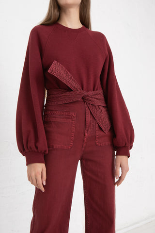 Ulla Johnson Ebba Pullover in Bordeaux, Front View Tucked In, Oroboro Store, New York, NY