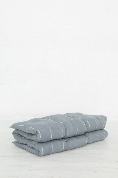Tensira Mattress/Bedroll in Kapok in Grey Tye & Dye, Side View of Threefold