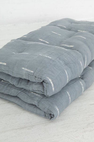 Tensira Mattress/Bedroll in Kapok in Grey Tye & Dye, Close Up of Threefold