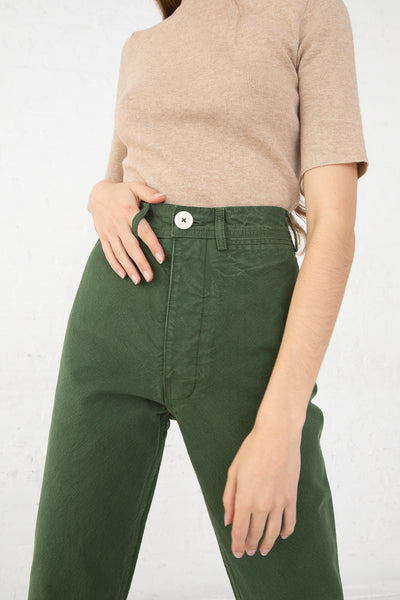 Jesse Kamm Ranger Pant in Olive front detail cropped view