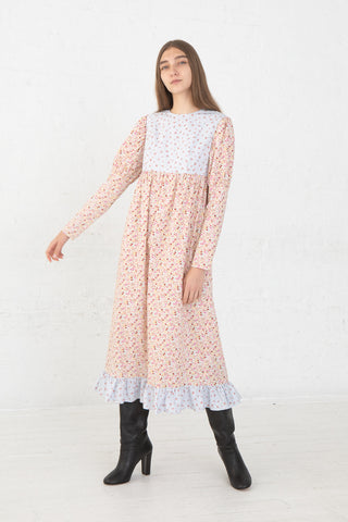 Batsheva Holly Dress in Floral Stripe/Pink Floral, Front View Full Body, Oroboro Store, New York, NY