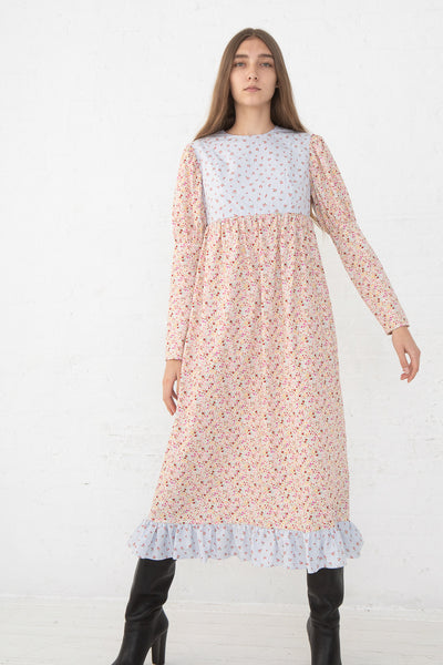 Batsheva Holly Dress in Floral Stripe/Pink Floral, Front View Full Body