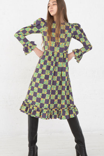 Batsheva Collarless Long Prairie Dress in Purple Patchwork Cotton, Front View Hands on Hip