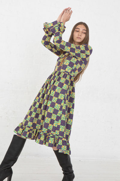 Batsheva Collarless Long Prairie Dress in Purple Patchwork Cotton, Front View Hands Above Head