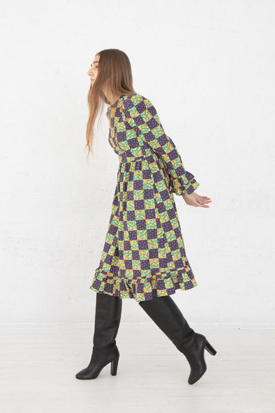 Batsheva Collarless Long Prairie Dress in Purple Patchwork Cotton, Side View Full Body, Oroboro Store, New York, NY