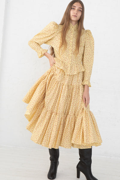Batsheva Amy Skirt/Dress in Yellow Cherry, Front View Side Pulled Up with One Hand