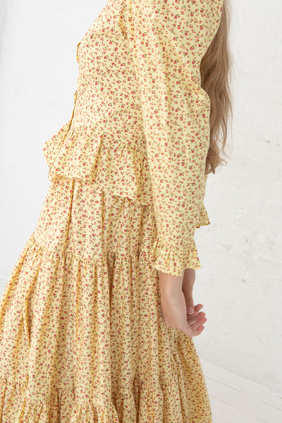 Batsheva Amy Skirt/Dress in Yellow Cherry, Side View Close Up