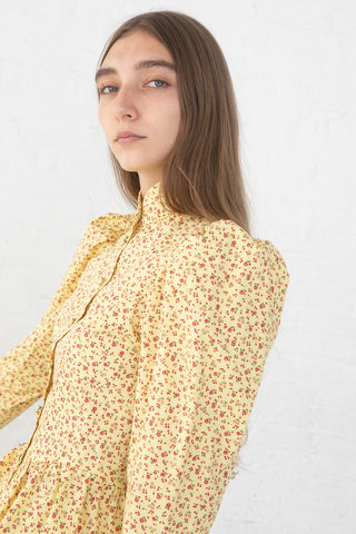 Batsheva Grace Blouse in Yellow Cherry, Side View Close Up, Oroboro Store, New York, NY