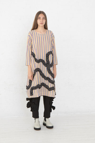 Nancy Stella Soto Rounded Cotton Poplin Dress with Dot Ruffle in Multi Stripe, Front View Full Body