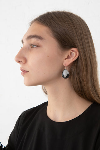 Mary MacGill Stone Drop Hook Earring in Portoro Marble on model view