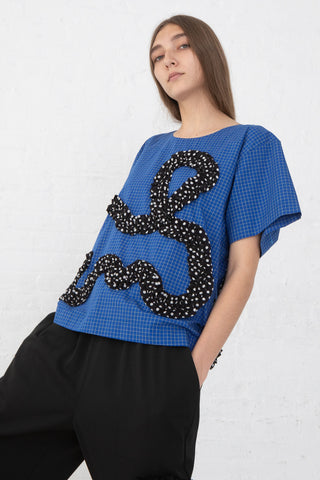 Nancy Stella Soto Cotton Poplin T-Shirt in Blue Windowpane, Front View, Oroboro Store, New York, NY