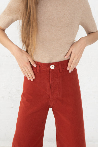 Jesse Kamm Sailor Pant in Iron Oxide front detail cropped view