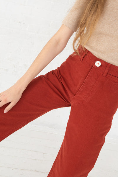 Jesse Kamm Sailor Pant in Iron Oxide cropped front detail view