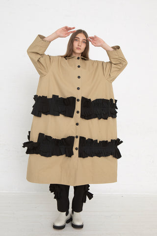 Nancy Stella Soto Long Rounded Jacket with Pleats in Khaki, Front View Full Body