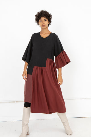 Correll Correll Mitla Long Sleeve Dress with Black top and Maroon Bottom | Oroboro Store | New York, NY