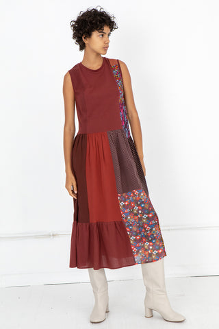 Correll Correll Recycle Sleeveless Dress in Maroon, Front View Full Body