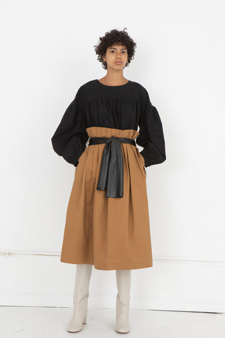 Wax Pleated Skirt in Camel