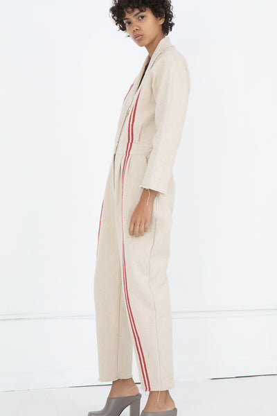 Hessian Overalls in Red Stripe