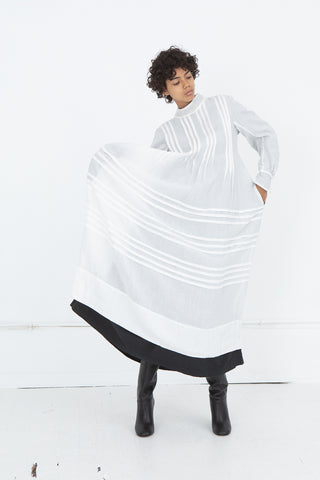 Hallelujah Robe a Plis d'Epoque in Off White with Black Lining | Oroboro Store | New York, NY