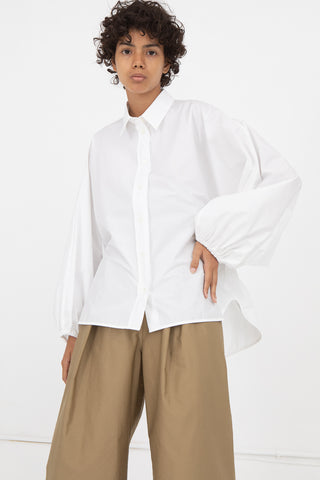 White Button Up Blouse with Elastic Back Detail in White