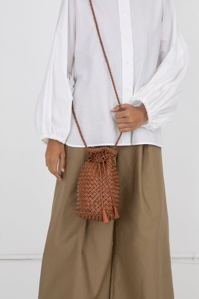 Weligama Handwoven Pompom Diagonal Weave in Tan