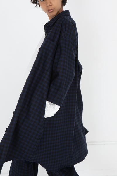 AVN Shirtdress in Blue and Black Side View Hand In Pocket