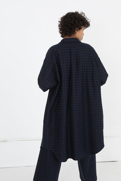 AVN Shirtdress in Blue and Black Back View