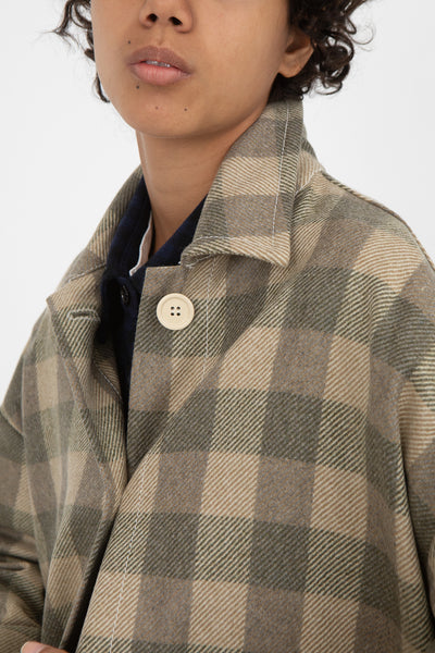 AVN Coat in Beige Check Front View Close Up Of Collar