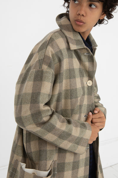 AVN Coat in Beige Check Side View Close Up