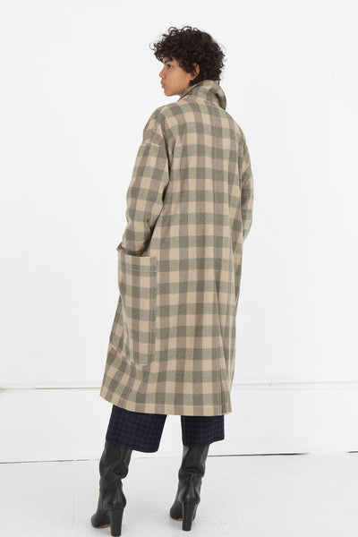 AVN Coat in Beige Check Back View