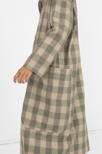 AVN Coat in Beige Check Side View of Sleeve and Pocket