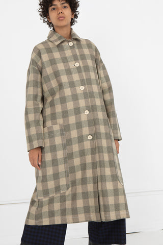 AVN Coat in Beige Check Front View, Oroboro Store, New York, NY