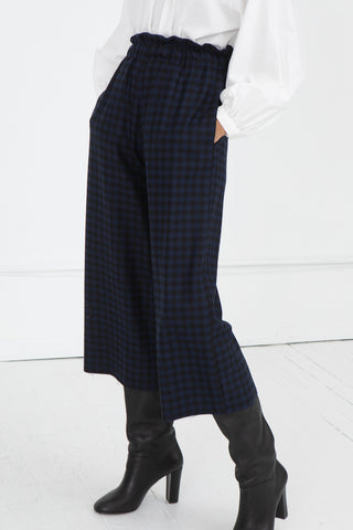 AVN Elastic Waist Pants in Blue and Black | Oroboro Store | New York, NY
