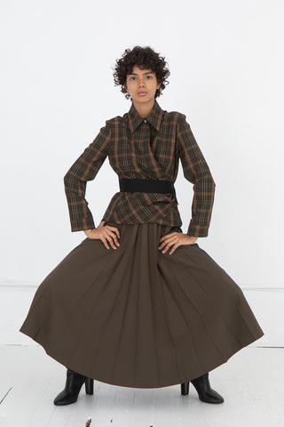 Hache Pleated Skirt in Grey and Military Green | Oroboro Store | New York, NY