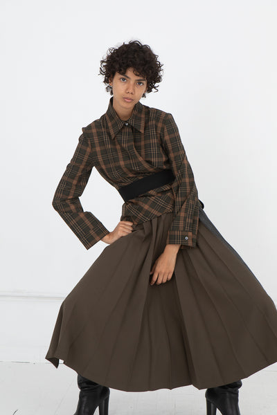 Hache Plaid Blouse in Brown and Black | Oroboro Store | New York, NY