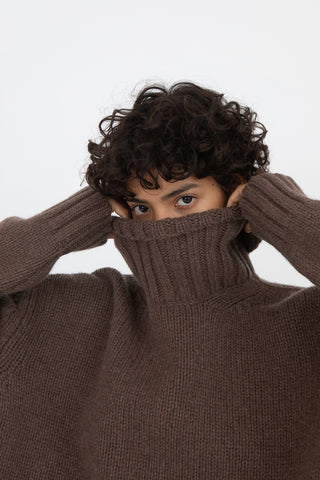 Hache Turtleneck Sweater in Army Green | Oroboro Store | New York, NY