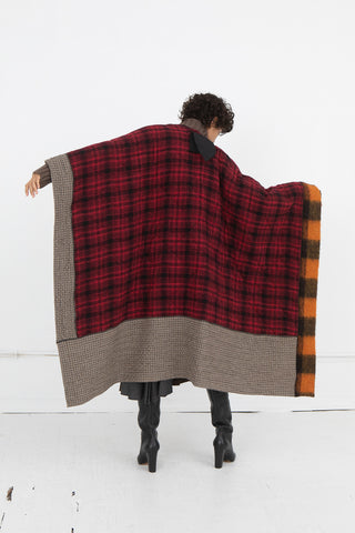 Hache Cape in Red Plaid Multi | Oroboro Store | New York, NY