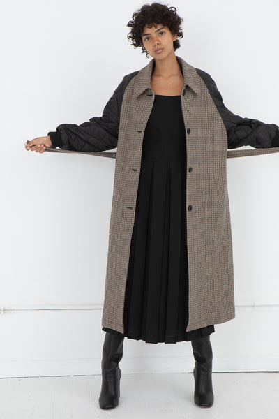 Hache Coat with Quilted Sleeves in Beige | Oroboro Store | New York, NY