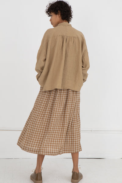 Gingham Skirt in Beige Linen