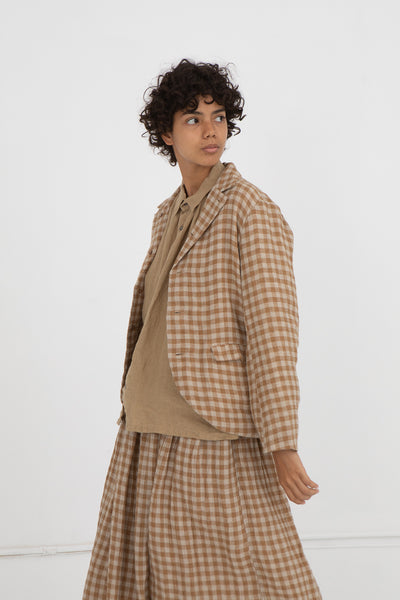 Gingham Jacket in Beige Linen