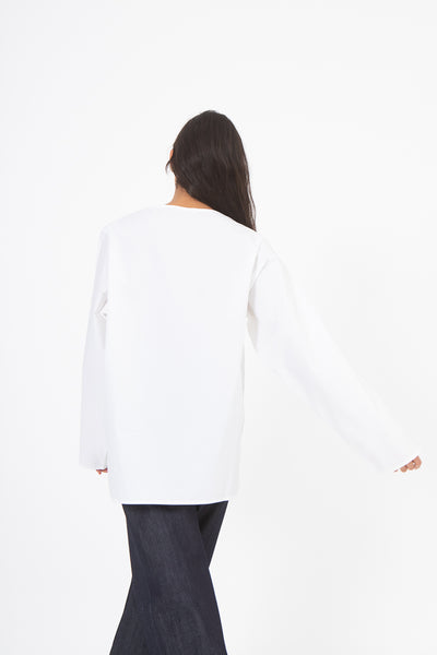 Sofie D'Hoore Betul Top in White, Back View Arm Away from Side