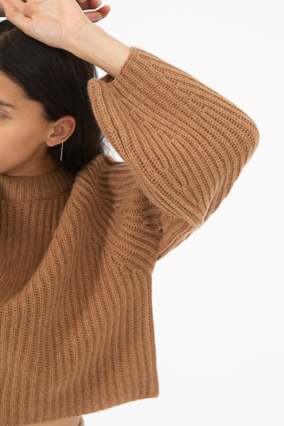 Ryan Roche Cashmere Ribbed Raglan Sleeve Cropped Sweater in Brown Rose | Oroboro Store | New York, NY