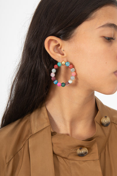 Mirit Weinstock Big 45 mm Agate Hoops in Gold | Oroboro Store | New York, NY