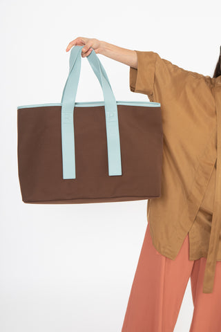 Rejina Pyo Carter Bag in Dark Brown and Blue | Oroboro Store | New York, NY