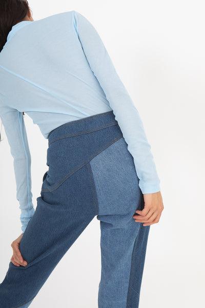 Rejina Pyo Lucie Trousers in Tonal Blue Mix | Oroboro Store | New York, NY