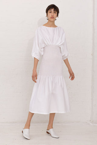 Veronique Leroy Long Gathered Midriff Dress Cotton in Color 01 White | Oroboro Store | New York, NY