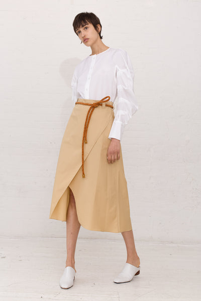 Veronique Leroy Wrap Skirt With Tie in Color 25 Straw | Oroboro Store | New York, NY
