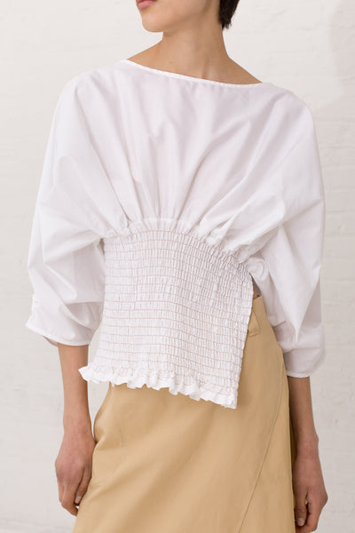 Veronique Leroy Gathered Midriff Top Cotton in Color 01 White | Oroboro Store | New York, NY
